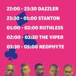 Time-table Royal Flush met Neophyte, The viper, Ruthless, Stanton and Dazzler